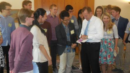 The ANU 2015 Tuckwell scholars meet Prime Minister Tony Abbott.