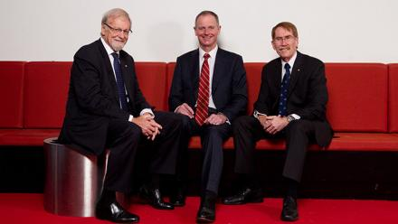 Chancellor Professor the Hon Gareth Evans AC QC FASSA, Mr Graham Tuckwell and Vice-Chancellor Professor Ian Young AO