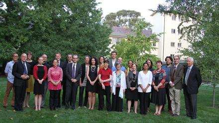 The Early Career Fellows with members of the University Executive and University House Board of Fellows. Image: Channa Razaque.