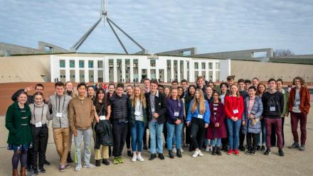 A group of candidates on tour of Parliament House during the Interview Weekend.
