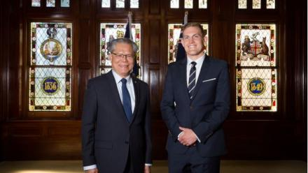 Lachlan Arthur at SA's Government House with the Governor, His Excellency the Honourable Hieu Van Le AC (photo credit: Jo-Anna Robinson)