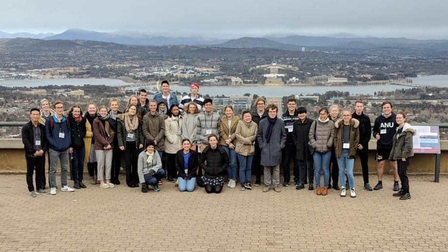Tuckwell Interview Weekend Candidates at Mt Ainslie during a tour of Canberra