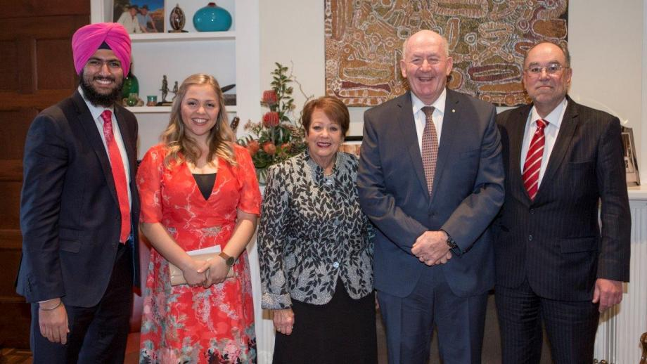 2017 Scholar House Representatives, Sahibjeet Bains and Caitlyn Baljak with the Governor General, Lady Cosgrove and ANU Provost Prof. Mike Calford