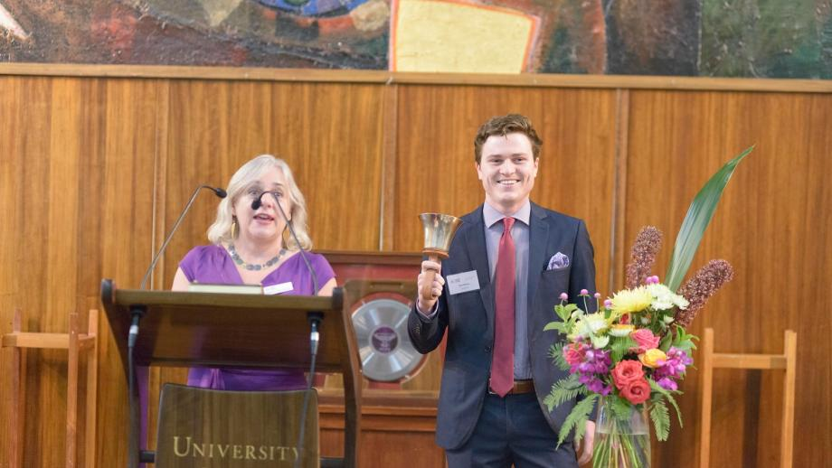 At Commencement Dinner, the incoming 2019 Scholars were announced by Chair of the Selection Panel, Professor Rae Frances, as 2018 Bell Ringer, Ryan Mannes sounded the Tuckwell Bell
