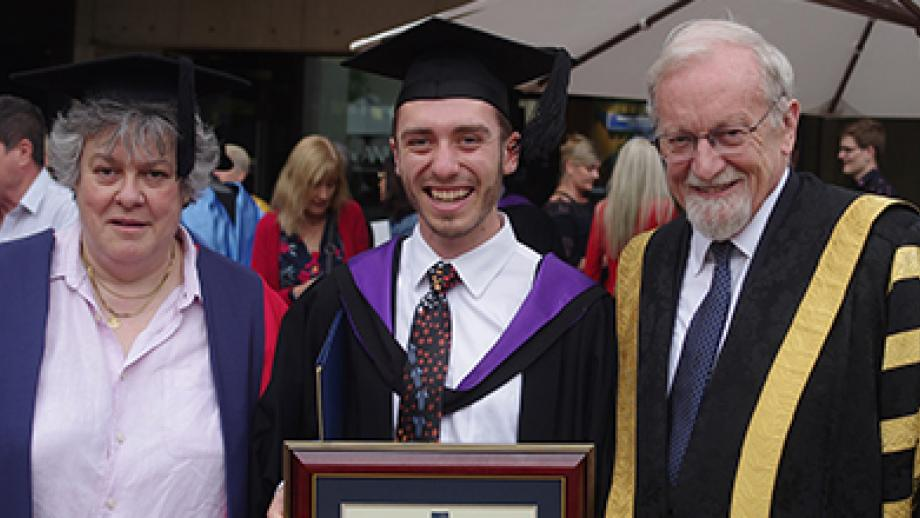 Marcus Dahl at his 2018 graduation ceremony with ANU College of Law Dean Professor Sally Wheeler OBE, MRIA, FAcSS, FAAL and ANU Chancellor Professor the Hon Gareth Evans AC, QC.
