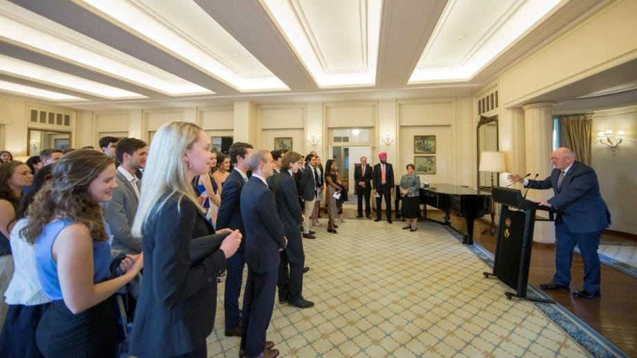 The Governor General welcoming Scholars to Government House