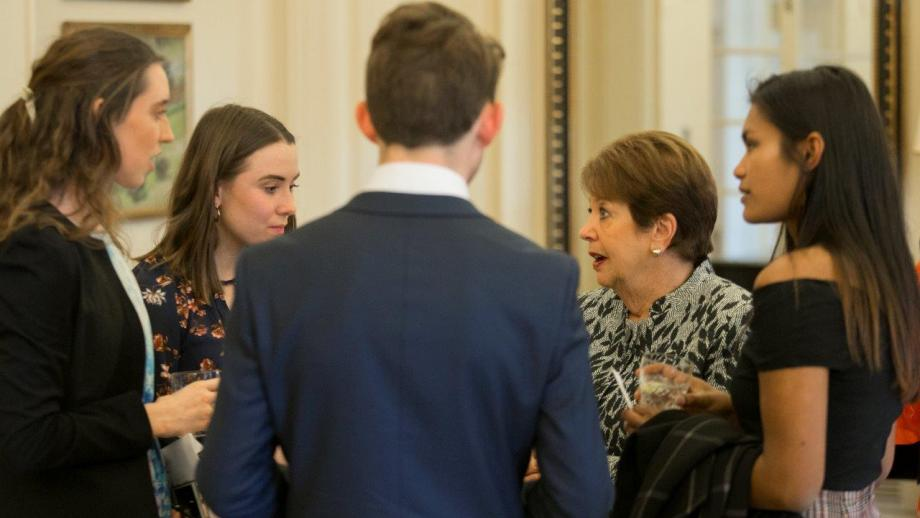Lady Cosgrove in conversation with Scholars